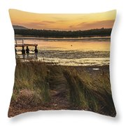Dawn Waterscape And Wharf Throw Pillow