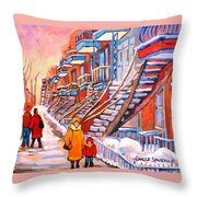 Debullion Street Winter Walk Throw Pillow