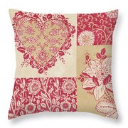 Deco Heart Red Throw Pillow
