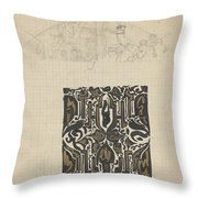 Decorative Design And Sketch Of The Front Tympanum Of The Royal Palace In Amsterdam, Carel Adolph Li Throw Pillow