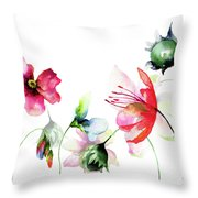 Decorative Wild Flowers Throw Pillow