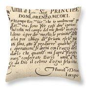 Dedication To Don Lorenzo De' Medici Throw Pillow