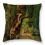 Deer In The Forest, 1868 Throw Pillow