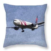 Delta Airlines Boeing 767 Art Throw Pillow