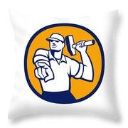 Demolition Worker Hammer Pointing Circle Retro Throw Pillow