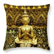 Detail From A Buddhist Temple In Bangkok Thailand Throw Pillow