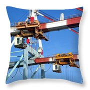 Detail View Of Container Loading Cranes Throw Pillow