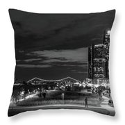 Detroit River Walk Panorama Throw Pillow