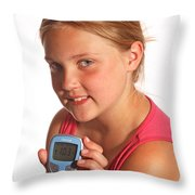 Diabetic Child With Blood Glucose Tester Throw Pillow