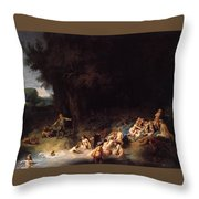 Diana Bathing With Her Nymphs Throw Pillow