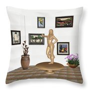 digital exhibition _ Sculpture 13 of girl  Throw Pillow