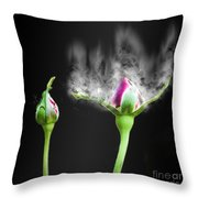 Digitally Manipulated Red Rose Bud Throw Pillow