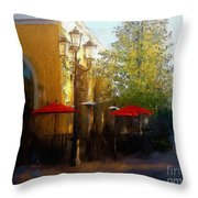 Dining At The Village Throw Pillow