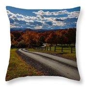 Dirt Road Through Vermont Fall Foliage Throw Pillow