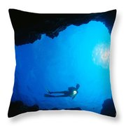 Diver At Cavern Entrance Throw Pillow