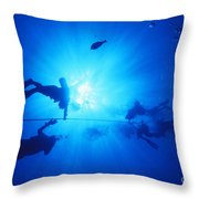Diver On Mahi Wreck Throw Pillow