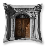 Doorway Of The Santa Teresa De Jesus Church Throw Pillow
