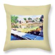 Dories At Beacon Marine Basin Throw Pillow