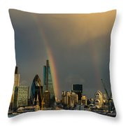 Double Rainbow Over The City Of London Throw Pillow