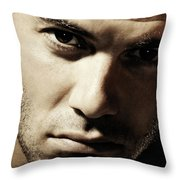 Dramatic Male Portrait Throw Pillow