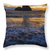 Dramatic Sunset Oregon Coast Usa Throw Pillow