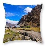 Drass Village Kargil Ladakh Jammu And Kashmir India Throw Pillow