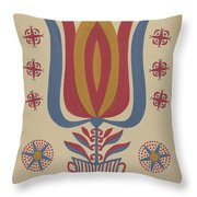 """Drawing For Plate 9: From The Portfolio """"folk Art Of Rural Pennsylvania"""" Throw Pillow"""
