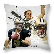 Drew Brees Saints Throw Pillow