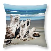 Driftwood On Beach Throw Pillow