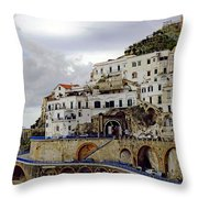 Driving The Amalfi Coast In Italy Throw Pillow