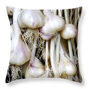 Drying Garlic Throw Pillow