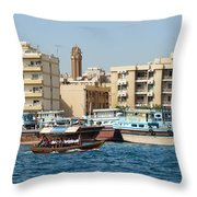 Dubai Creek And Abra Boats Throw Pillow