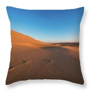 Dune With Magnificent Sandy Waves At Hot And Windy Morning In Desert  Throw Pillow