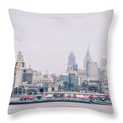 Early Morning Sunrise Over Philadelphia Pennsylvania Throw Pillow