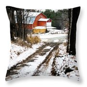 Early Winter Barn Throw Pillow