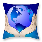 Earth In The Your Hands Throw Pillow