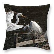 Egret 43 Throw Pillow