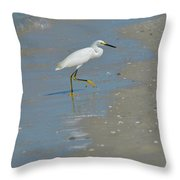 Egret Walking Up The Beach Throw Pillow