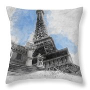 Eiffel Tower Of Paris Throw Pillow