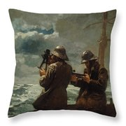 Eight Bells Throw Pillow by Winslow Homer