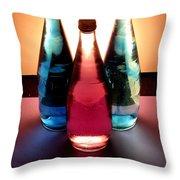 Electric Light Through Bottles Throw Pillow