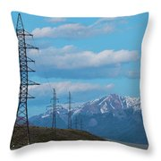 Electric Power Transmission Pylons On Inner Mongolia Grassland At Sunrise  Throw Pillow