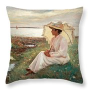 Elegant Lady By The Sea Throw Pillow