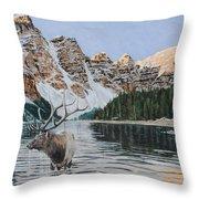 Elk In Moraine Lake Throw Pillow