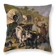 Emigrants To West, 19th C Throw Pillow