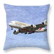 Emirates A380 Airbus Oil Throw Pillow