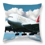 Emirates A380 Throw Pillow