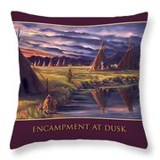 Encampment At Dusk Throw Pillow