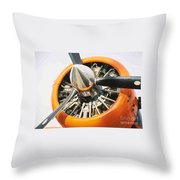 Engine And Propellers Of Aircraft Close Up Throw Pillow