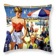 England Weston Super Mare Vintage Travel Poster Throw Pillow